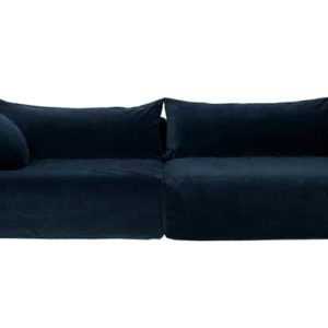 GRAND CANAPE BOHEME CHIC VELOURS RAS BLEU NUIT 4PLACES