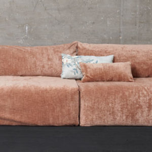 GRAND CANAPE BOHEME CHIC VELOURS RAS VIEUX ROSE 4PLACES