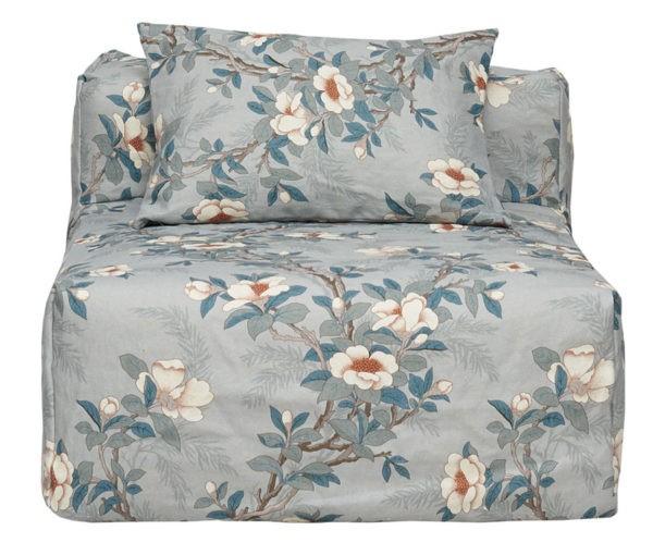 chauffeuse dehoussable lin fleurs gris bleu lldeco