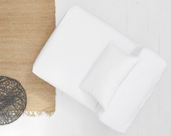 chauffeuse en lin blanc dehoussable lldeco