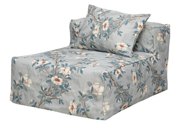 chauffeuse en lin dehoussable fleuri gris bleu lldeco