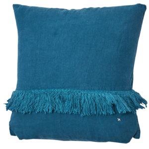 coussin carre lin frange bleu piscine lldeco