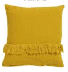 coussin lin frange jaune curry lldeco