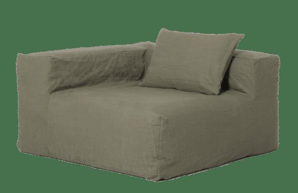 fauteuil angle lin kaki lldeco