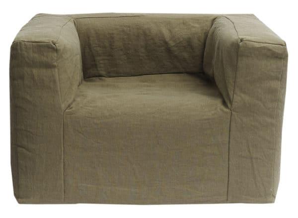fauteuil lin kaki structure mousse lldeco