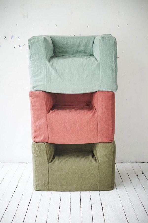 fauteuils en lin froissé lldeco