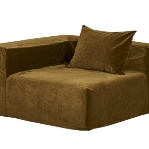 grand fauteuil coin velours vert kaki lldeco