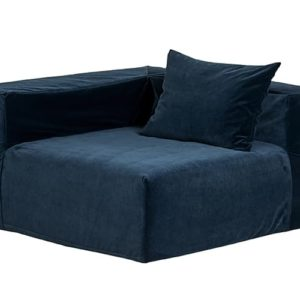 grand fauteuil velours bleu petrole lldeco
