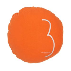 gros coussin sol lin rond orange lldeco