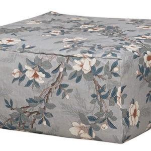 pouf carre dehoussable lin floral gris bleute lldeco