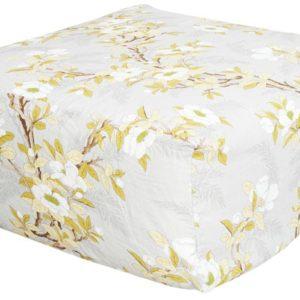 pouf en lin fleur jaune lldeco