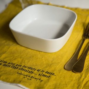 set de table lin jaune curry