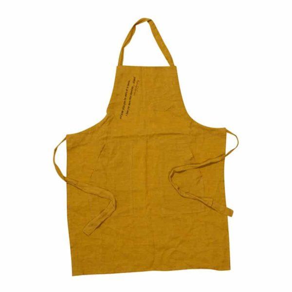 tablier cuisine pour enfant en lin jaune curry lldeco