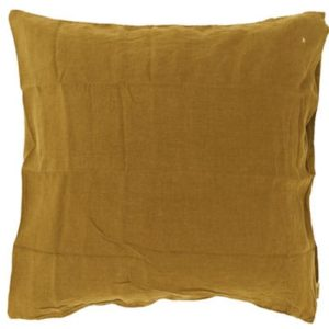 Taie d'oreiller carrée lin moutarde