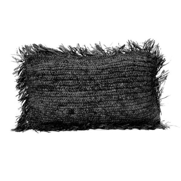 coussin rectangle raphia noir lldeco