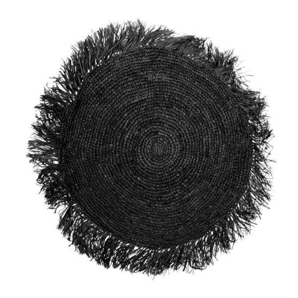 coussin rond en raphia noir taille L lldeco