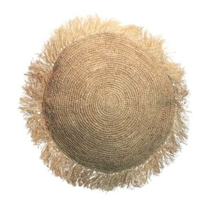 coussin rond tresse raphia naturel LLDECO