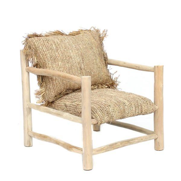 fauteuil bois teck et raphia naturel lldeco