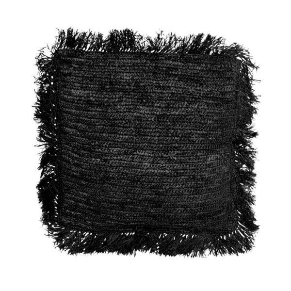 grand coussin carré raphia noir lldeco