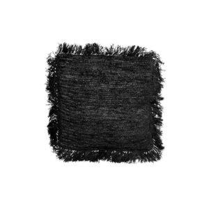 petit coussin carre noir raphia lldeco