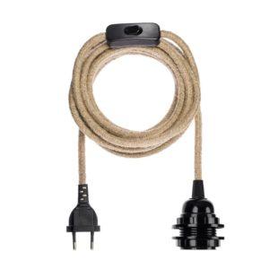 branchement electrique en lin naturel pour suspension