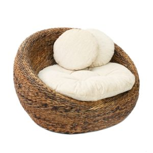 fauteuil rond rotin lldeco blanc