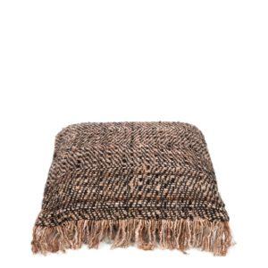 coussin carre fibre naturel cuivre:noir lldeco