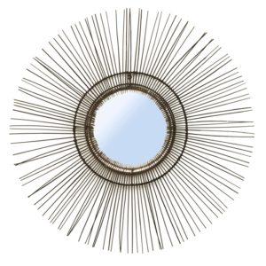 miroir tropical rond noir