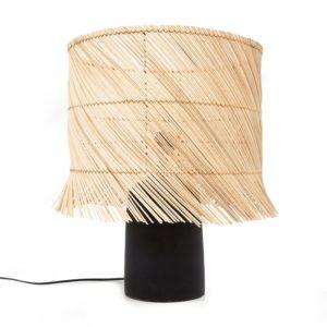 LAMPE SUR PIED NOIR ET ROTIN NATUREL LLDECO