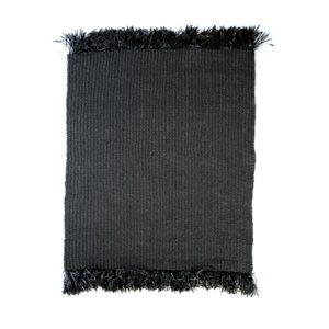 grand tapis noir raphia lldeco
