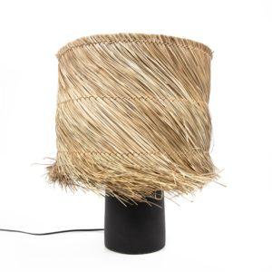 lampe noire et raphia naturel