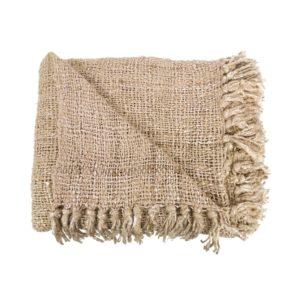 plaid coton beige naturel
