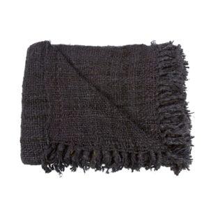 plaid noir coton grosse maille lldeco