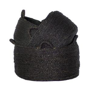 lots 3 paniers noirs fibre naturelle lldeco