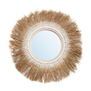 miroir rond raphia et coquillage Bazar Bizar lldeco